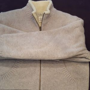 LL Bean lined grey zip up sweater